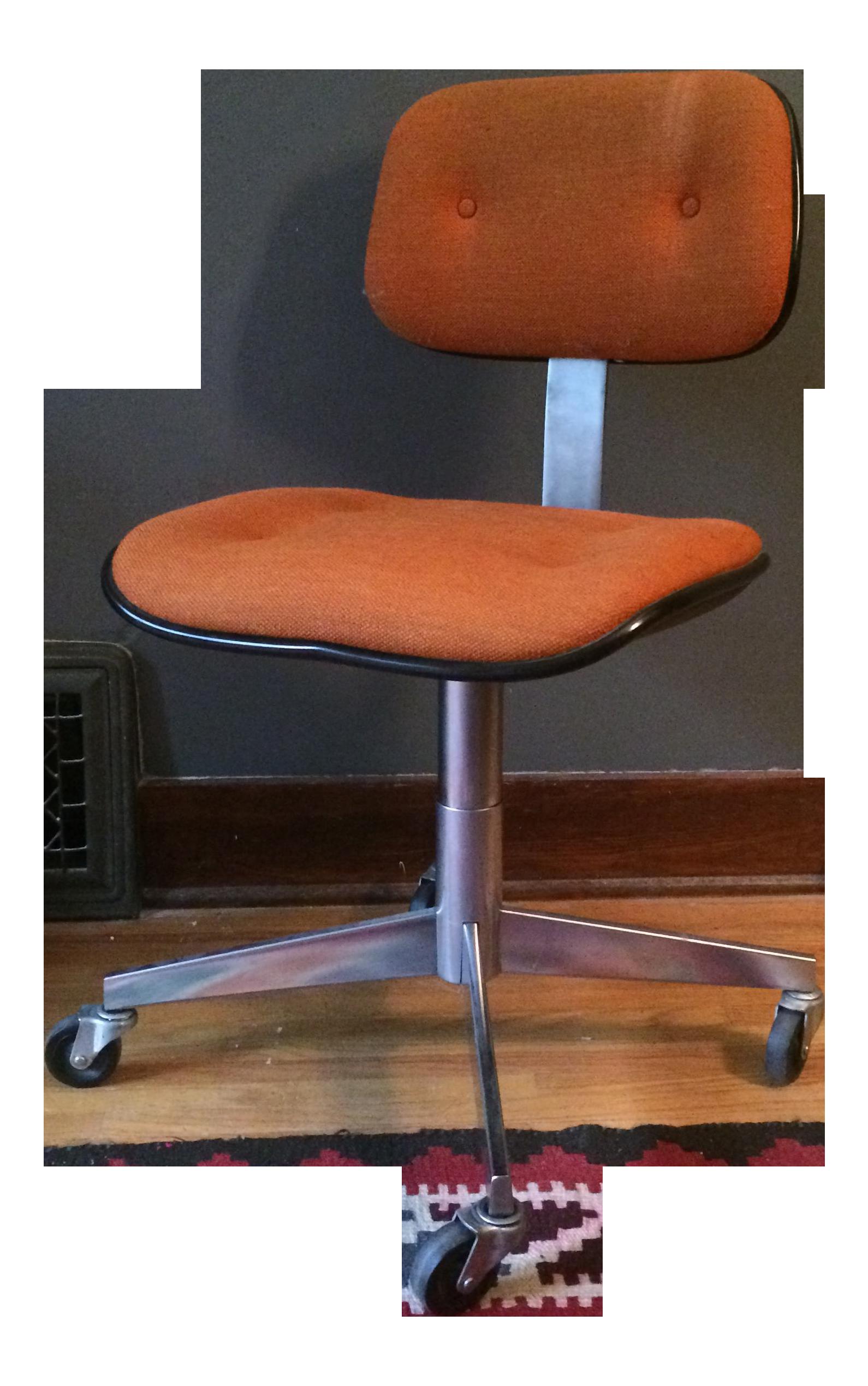 vintage steelcase orange wool rolling office chair   chairish