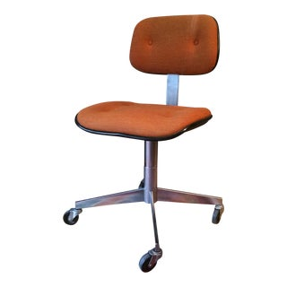 Vintage Steelcase Orange Wool Rolling Office Chair