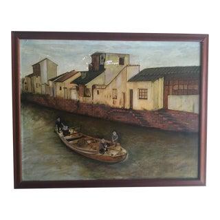 Boat on a Bejing Canal Oil Painting by Joseph Feldmen