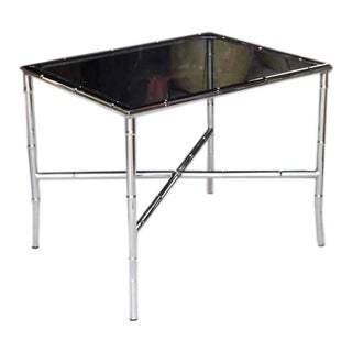 Chrome Faux Bamboo Smoked Glass Top Side or Coffee Table