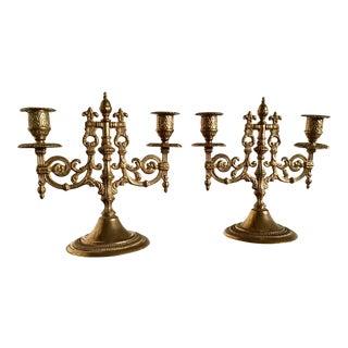 Rococo Brass Candelabras - A Pair