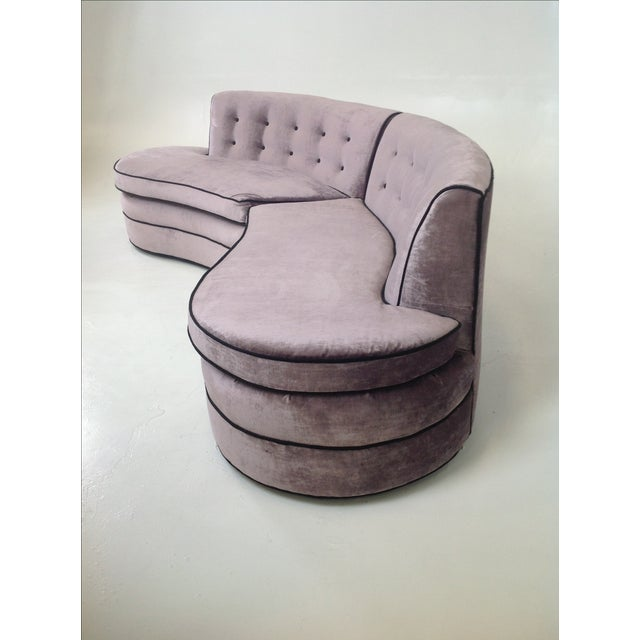 Mid-Century Regency Style Purple Velvet Sectional - Image 6 of 6