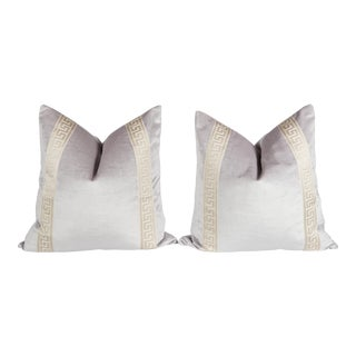 Lavender Velvet Greek Key Pillows - A Pair