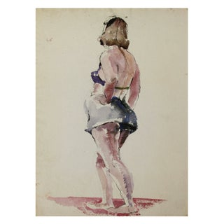 1940s Original Water Color Painting of Woman