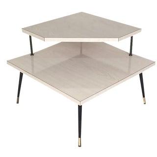 Mid-Century Modern 2-Tier Corner Table