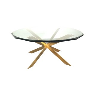 Leon Rosen Double-X Base Brass Coffee Table