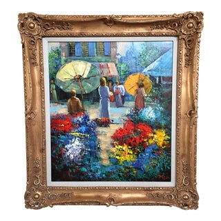 """Flower Mart"" Framed Painting"