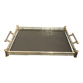 Silver & Gold Hollywood Regency Bamboo Style Tray