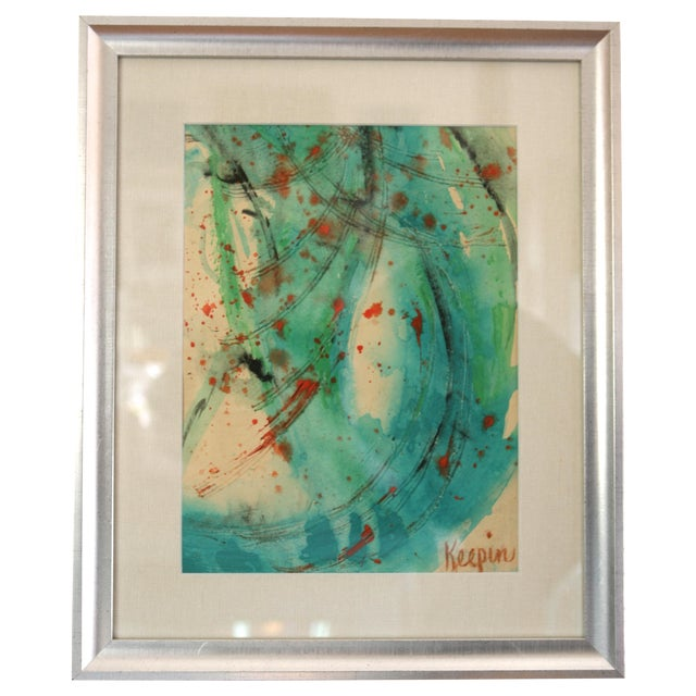 Image of Turquoise Framed Abstract Watercolor Painting