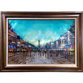 Crowded City Street Scene Oil Painting c. 1960's