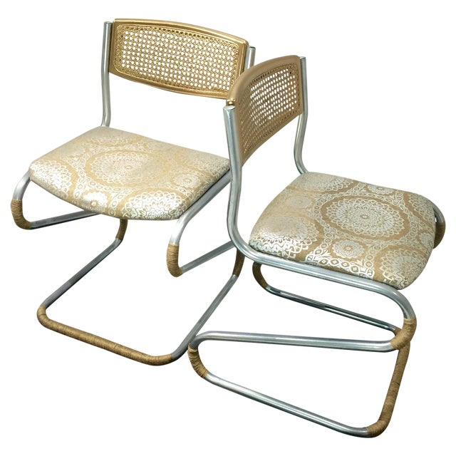 Gold Retro Twine Dining Chairs - 4 - Image 1 of 5