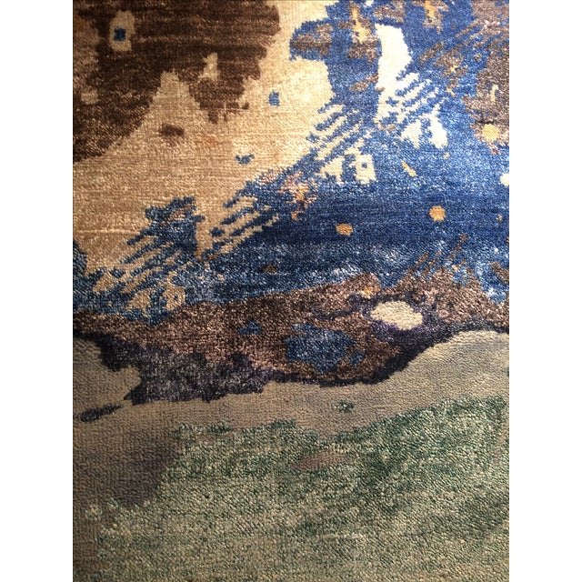 Modern Silk Rug: Pasargad N Y Hand Knotted Modern Silk Rug