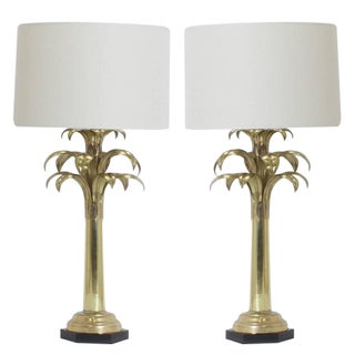 Pair of Brass Palm Tree Table Lamps