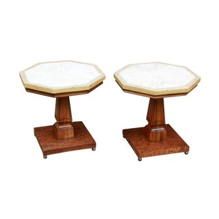 Vintage Hollywood Regency Travertine & Fruit Wood Octagon End Tables - a Pair