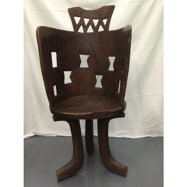 Antique Ethiopian Hand Carved Wooden Chair - Image 2 of 6