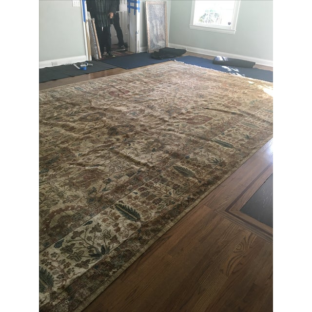 """Handknotted Rust & Teal Wool Area Rug- 10' x 17'8"""" - Image 6 of 8"""