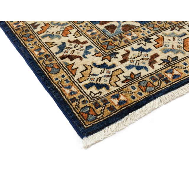 "Serapi Blue & Tan Hand-Knotted Runner - 3' 7"" X 11' 8"" - Image 2 of 3"