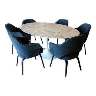 Eero Saarinen Marble Top Table and 6 Chairs