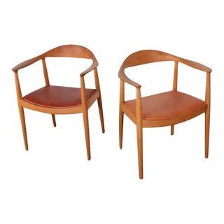 Pair of Oak Round Chairs by Hans Wegner for Johannes Hansen