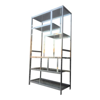 Vintage Milo Baughman Style Chrome Shelf