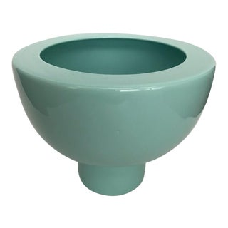 Footed Aqua Turquoise Ceramic Vase