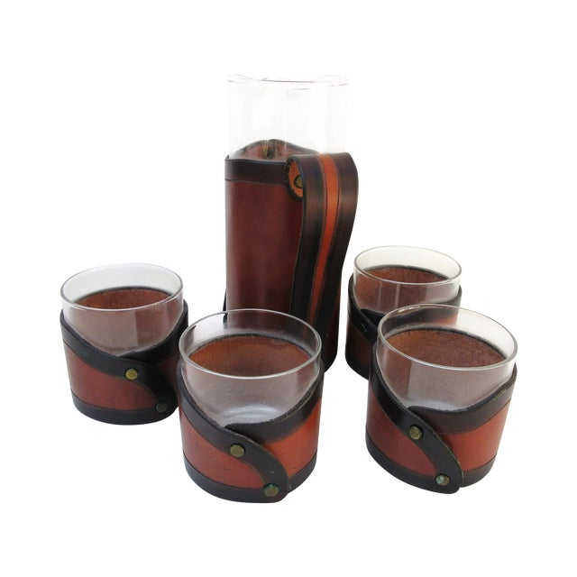 Image of Leather Glass Pitcher & Glasses - Set of 5