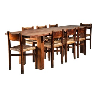 Charlotte Perriand Brasil Table with a Set of Eight Courchevel Chairs, France