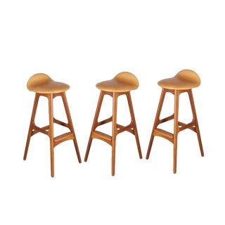 Leather Teak Counter Stool by Erik Buch - Set of 3