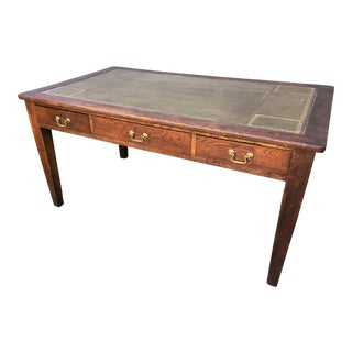 Distressed Oak & Leather Desk