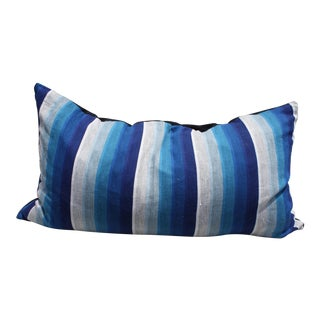Royal Blue Vintage Stripe Lumbar Pillow