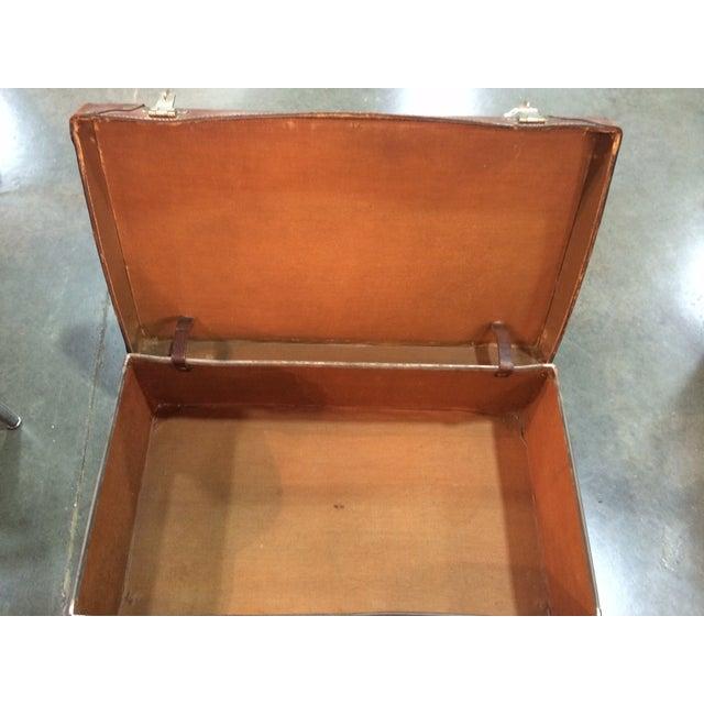 Antique Suitcase Bullock Hide Worldwide Traveler - Image 5 of 6