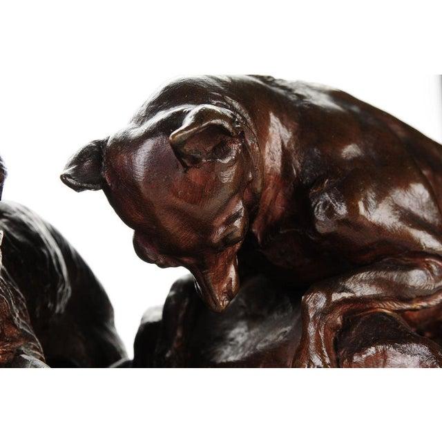 """Pierre-Jules Mene '3 dogs Ferreting"""" Original Bronze Sculpture c.1890s - Image 8 of 11"""