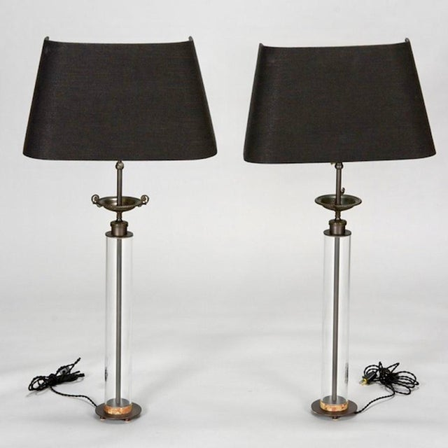 Belgium Custom Glass Column Lamps With Bronze Tazza - A Pair - Image 2 of 7
