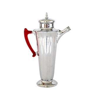 Silver Cocktail Pitcher With Red Baketlite Handle