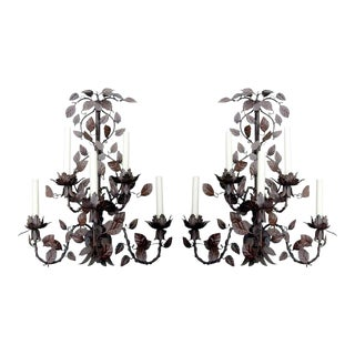 Monumental Pair of Tole Six-arm Wall Sconces