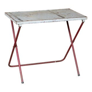 Vintage French Iron Folding Table with Red Base