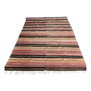 Peach & Pink Turkish Kilim Rug - 4′11″ × 8′