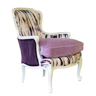 "French Bergere Upholstered ""Purple Rain"" Armchair"