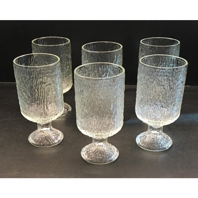 Image of Vintage 1970s Indiana Textured Crystal Ice Pattern Water Goblets - Set of 6