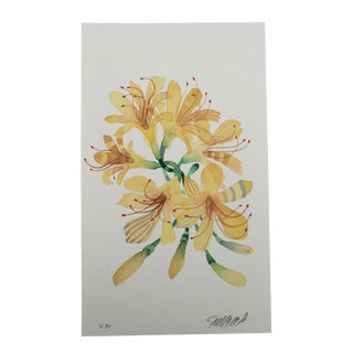 """Yellow Spider Lilies"" Original Watercolor Painting"