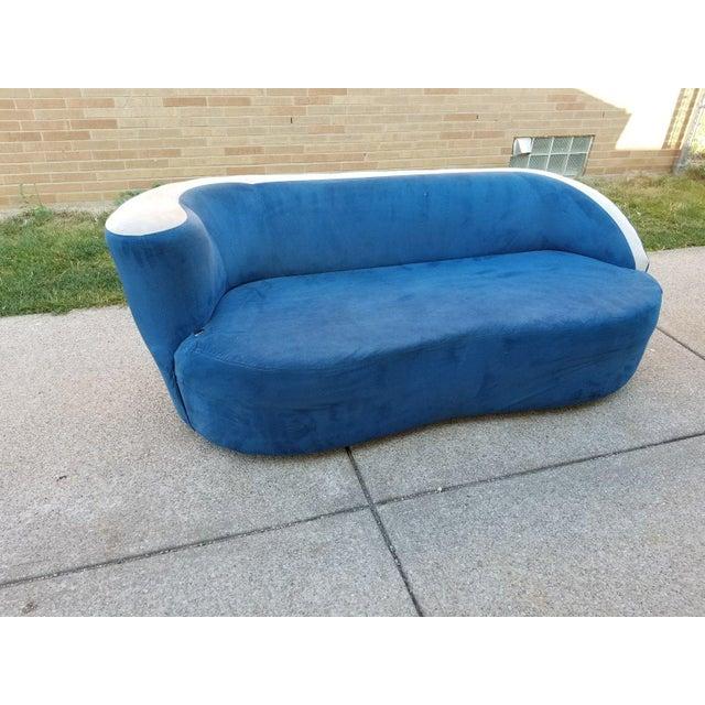 Vladimir Kagan for Directional Nautilus Sofa in Blue Velvet - Image 11 of 11
