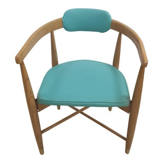 Mid-Century Turquoise Barrel Chair