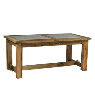 Old Wood Table with Stone