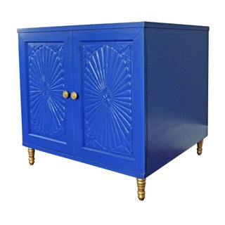 Hollywood Regency Style Blue Cabinet