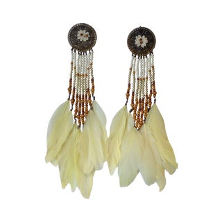 Vintage Oversize Feather Earrings