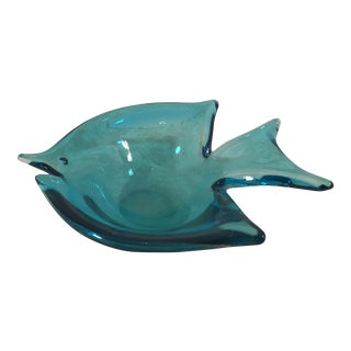Vintage Blue Aquamarine Art Glass Fish Dish