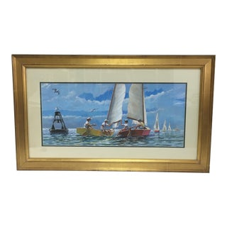 Children Sailing Watercolor Gouache