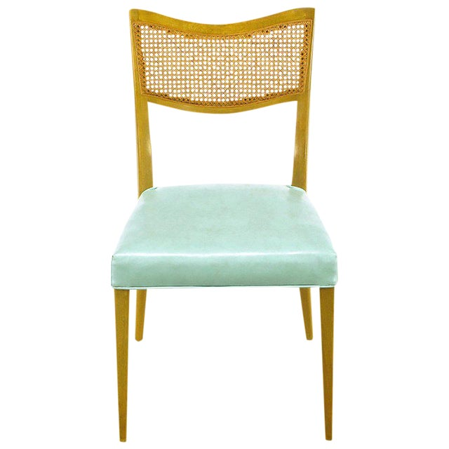 Harvey Probber Tiffany Blue Leather and Mahogany Side Chair - Image 1 of 9