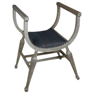 Paul Marra Distressed Fir Bench in Blue Horsehair
