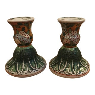 Green & Floral Chinese Candlesticks - A Pair